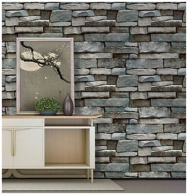"""Peel & Stick Stone Wallpaper Wall Murals Grey/Blue 17.7""""x 9.8ft Removable Paper"""