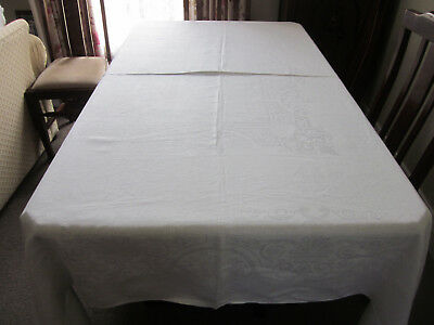 Lovely Vintage Soft White Irish Linen Damask Tablecloth