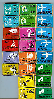 22 - Vintage Sas Scandinavian Airlines Matchboxes With Matches In Box