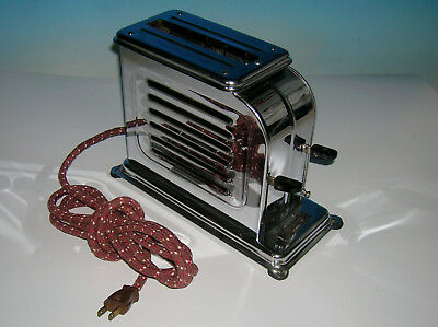 Vtg 1920's Toastmaster Model 1A1 Chrome Art Deco Toaster Heats up & Works NICE!