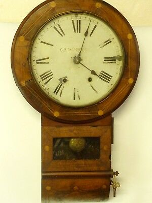 Large Antique Wooden Wall Clock, Chiming, Pendulum, With Key, Working       #ec#
