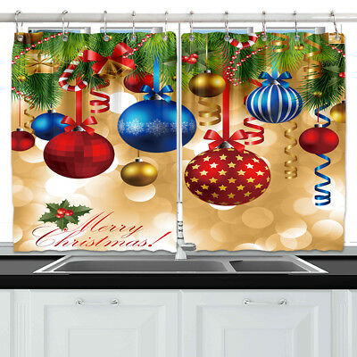 Christmas Tree And Xmas Balls Kitchen Curtains Window Drapes 2 Panels Set 55*39""