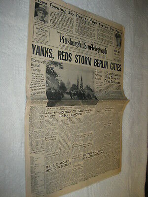 Lot 2 WWII Pittsburgh Sun Newspapers DEATH FUNERAL FDR PRESIDENT ROOSEVELT 1945