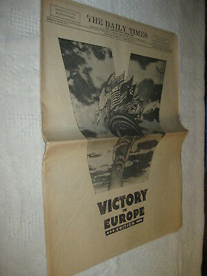 WWII Beaver & Rochester PA Daily Times Newspaper VE DAY VICTORY PHOTOS ADS 1945