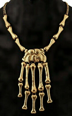 Gold Skeleton Hand Bone Necklace Halloween Skull Goth Punk Biker