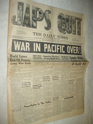 WWII Beaver & Rochester PA Daily Times Newspaper JAPANESE QUIT WAR OVER 1945