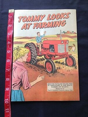 Tommy Looks At Farming Comic, B.F. Goodrich Co. 1961 Vintage Tractor, farming