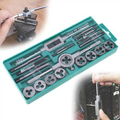 20pcs Tap and Die Set 1/16-1/2 Inch NC Screw Thread Plugs Taps Alloy Steel