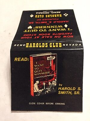 1960's Harold S Smith Club I Want To Quit Winners Reno Nevada Matchbook Unused