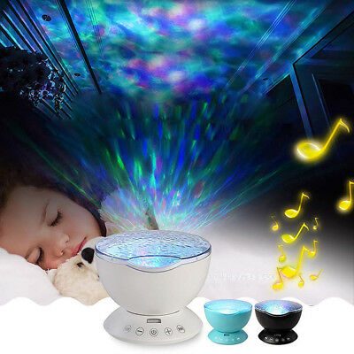 Romantic Remote Control Music 12LED 7Color Night Light Ocean Wave Projector Lamp