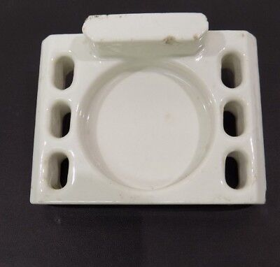 Antique vtg 1920s Art Deco White Porcelain Toothbrush Holder China Wall Mount
