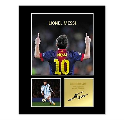 Lionel Messi Signed Photo Mount (Pre Printed Autograph) Gift For A Barcelona Fan
