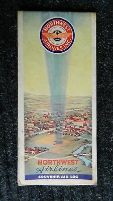 Vintage Northwest Airlines Inc. Souvenir Air Log Map