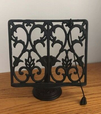 Vintage Wrought Iron Cookbook Holder Cast Iron Music Stand Holder