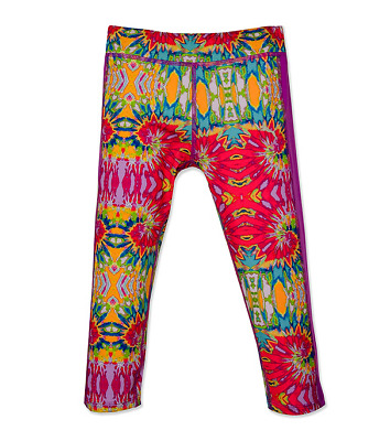 PUMA Girls Swirl Print Capris Active Athelic Leggings Purple-Multi size 12 14 16