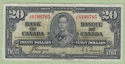 1937 Bank of Canada 20 Dollar Note - Coyne/Towers - J/E6196785 - VF