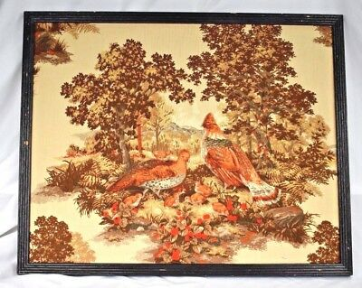 Vtg Hand Crafted Wood Framed 3D Stuffed Quilted Textile Art Quail Birds in Woods