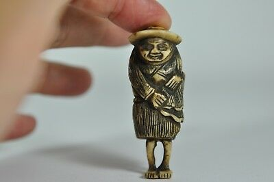 Fine Old Japan Japanese Carved Antler Netsuke Deity Sculpture Scholar Art