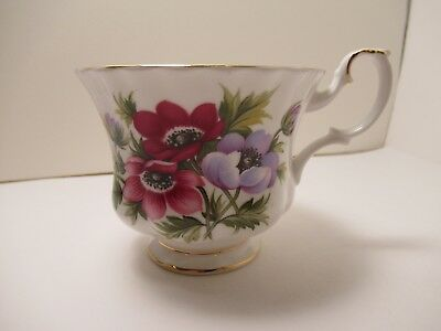 "Royal Albert English China Cup Only  Flower Of The Month ""March"" Anemones"