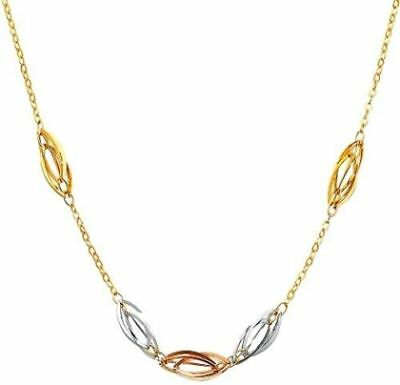 Real Solid 14K Tri Tone Color Gold Fashion Necklace Chain Adjustable 18'' Women