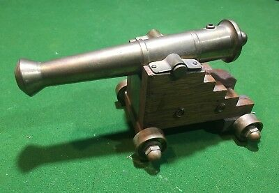 Vintage Hand Made Brass & Wood Small Signal Cannon
