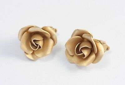 Vintage Pale Gold Tone Metal Rose Clip On Earrings 1960s / 1970s