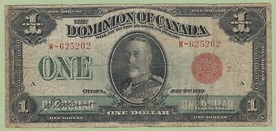 1923 Dominion of Canada One Dollar Note - McCavour/Saunders -Red Seal Group 2-VG