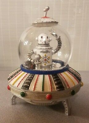 RARE Snowman Robot in Flying Saucer Retro Steampunk Rotating Music Box by Roman