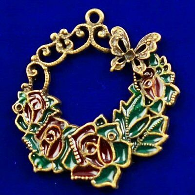 Carved Brass Bronze Flower Pendant Bead 42x40x2mm L89675