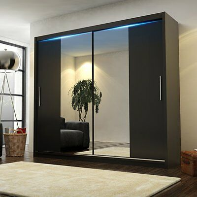 NEW MODERN DOUBLE MIRROR SLIDING DOOR WARDROBE 204cm LED BLACK/WHITE/SONOMA