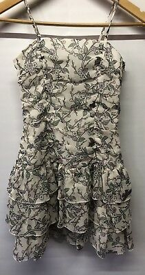 Kylie Girls White Fully Lined Floral Party Dress Age 11 Years VGC Free UK P&P