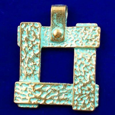 Carved Brass Bronze Square Pendant Bead 43x2mm L89670