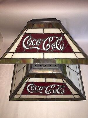 Vintage Pair Of Coca Cola Coke Stained Glass Lamp Shades Plastic