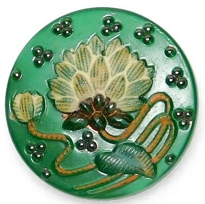 Small Antique VINTAGE Green GLASS Button Hand Painted WATER LILY 11/16 #19