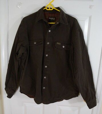 bbc0256be39dc Gander Mtn Guide Series Chocolate Brown Flannel Lined Snap Shirt Jacket Mens  M