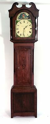 Antique circa 1850's Mahogany Long Case Clock with Hand Painted Shooting Scene