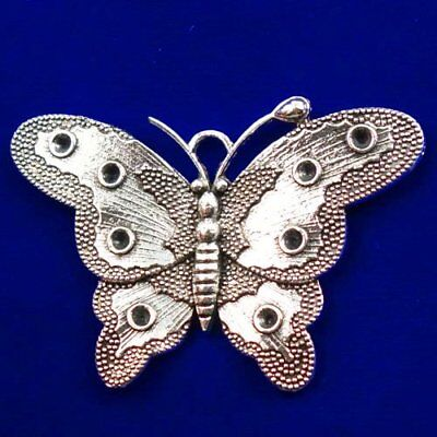 Carved Tibetan silver Butterfly Pendant Bead 61x42x3mm L89917