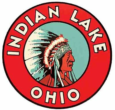 Indian  Lake OH   Ohio    Vintage 1950's Style  Travel Decal Sticker