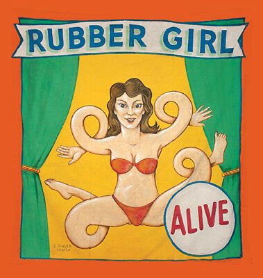 Vintage Freakshow  Sideshow  Circus Fair Carnival    Rubber Girl   Banner
