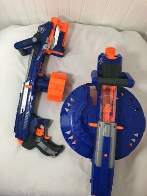 NERF N-Strike Elite Hail-Fire Blaster Gun Set of 2 Guns Plus 7-Clips Rare Lot