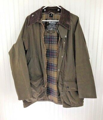 BARBOUR CLASSIC BEAUFORT WAX COTTON JACKET SYLKOIL MADE in ENGLAND OLIVE 42 EUC
