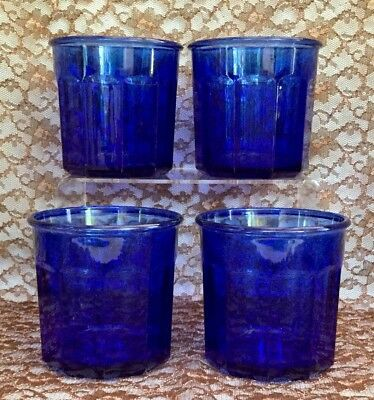 Vintage Four Cobalt Blue 10 Panel Double Old Fashioned Tumblers France 500