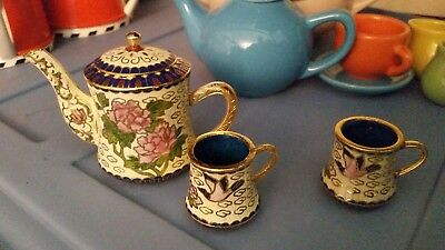 Miniature Japanese Cloisonné Tea Set Meiji Period