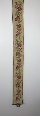 "Vintage  Embroidery Bell Pull Flowers 55""  Ivory Brass Klokkestreng Wall Decor"