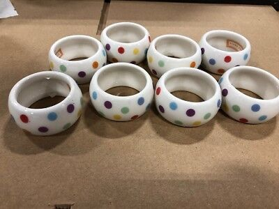 Ceramic Napkin Rings, polka dot, 8pcs