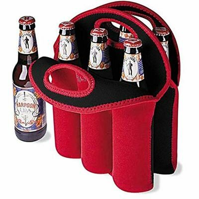 Insulated Bottle Carrier 6Pack Wine/Beer/Soda Bottle Protector Wine Tote Bag Red