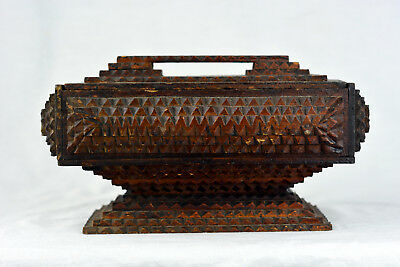 Antique c1900 TRAMP ART BOX Chip Carved FOLK ART Handle Lid Pedestal AMERICAN