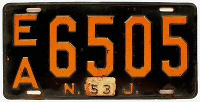 New Jersey 1953 Large Format Essex County License Plate, EA 6505