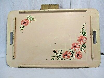 VINTAGE hand painted WOOD TRAY BREAKFAST IN BED ANTIQUE COTTAGE CHIC SHABBY
