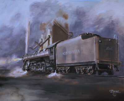 Original Oil Painting  Railroad Train Steam Locomotive  Lackawanna Railroad